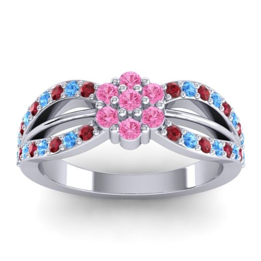 Simple Floral Pave Kalikda Pink Tourmaline Ring with Swiss Blue Topaz and Ruby in Platinum