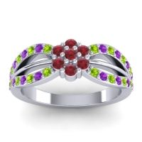 Simple Floral Pave Kalikda Ruby Ring with Amethyst and Peridot in Platinum