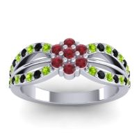 Simple Floral Pave Kalikda Ruby Ring with Black Onyx and Peridot in Palladium