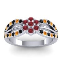 Simple Floral Pave Kalikda Ruby Ring with Citrine and Black Onyx in 18k White Gold