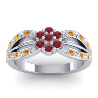 Simple Floral Pave Kalikda Ruby Ring with Citrine and Diamond in 18k White Gold