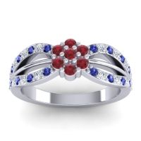 Simple Floral Pave Kalikda Ruby Ring with Diamond and Blue Sapphire in Palladium