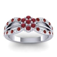 Simple Floral Pave Kalikda Ruby Ring with Diamond and Garnet in 14k White Gold