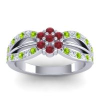Simple Floral Pave Kalikda Ruby Ring with Diamond and Peridot in Palladium