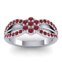 Simple Floral Pave Kalikda Ruby Ring with Garnet in 18k White Gold
