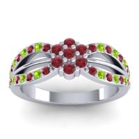 Simple Floral Pave Kalikda Ruby Ring with Peridot in 14k White Gold