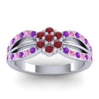 Simple Floral Pave Kalikda Ruby Ring with Pink Tourmaline and Amethyst in Palladium