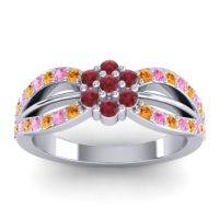 Simple Floral Pave Kalikda Ruby Ring with Pink Tourmaline and Citrine in 14k White Gold