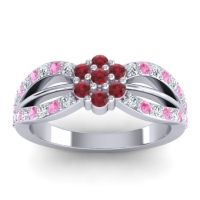 Simple Floral Pave Kalikda Ruby Ring with Pink Tourmaline and Diamond in 18k White Gold