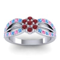 Simple Floral Pave Kalikda Ruby Ring with Pink Tourmaline and Swiss Blue Topaz in Platinum