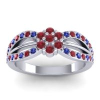 Simple Floral Pave Kalikda Ruby Ring with Blue Sapphire in 18k White Gold