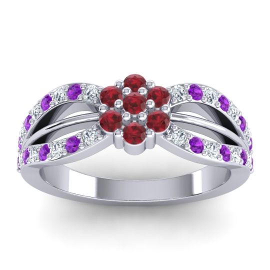 Simple Floral Pave Kalikda Ruby Ring with Amethyst and Diamond in Platinum