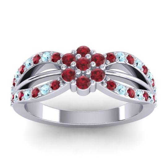 Simple Floral Pave Kalikda Ruby Ring with Aquamarine in Platinum