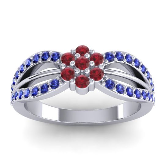 Simple Floral Pave Kalikda Ruby Ring with Blue Sapphire in Palladium