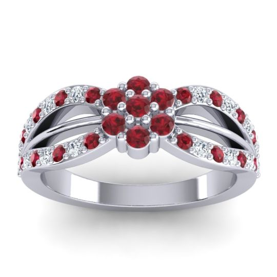 Simple Floral Pave Kalikda Ruby Ring with Diamond in 18k White Gold