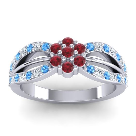 Simple Floral Pave Kalikda Ruby Ring with Diamond and Swiss Blue Topaz in Palladium