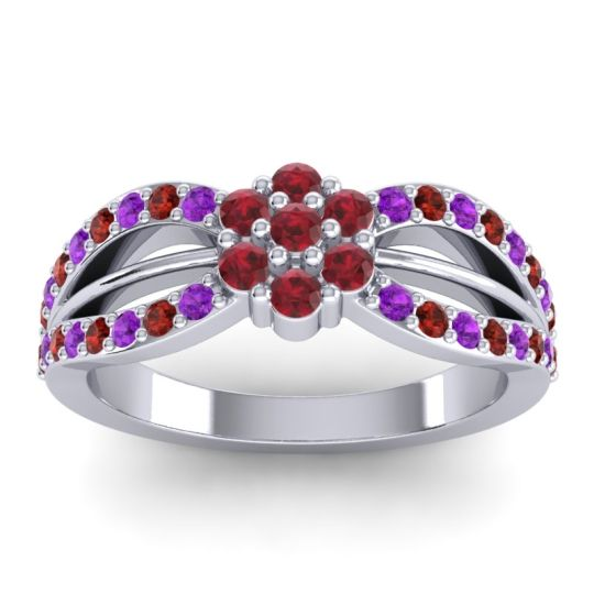 Simple Floral Pave Kalikda Ruby Ring with Garnet and Amethyst in Palladium
