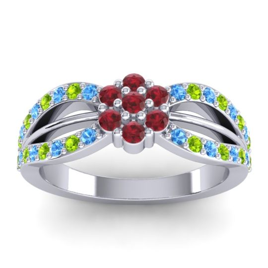 Simple Floral Pave Kalikda Ruby Ring with Peridot and Swiss Blue Topaz in 14k White Gold