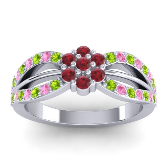 Simple Floral Pave Kalikda Ruby Ring with Pink Tourmaline and Peridot in Platinum
