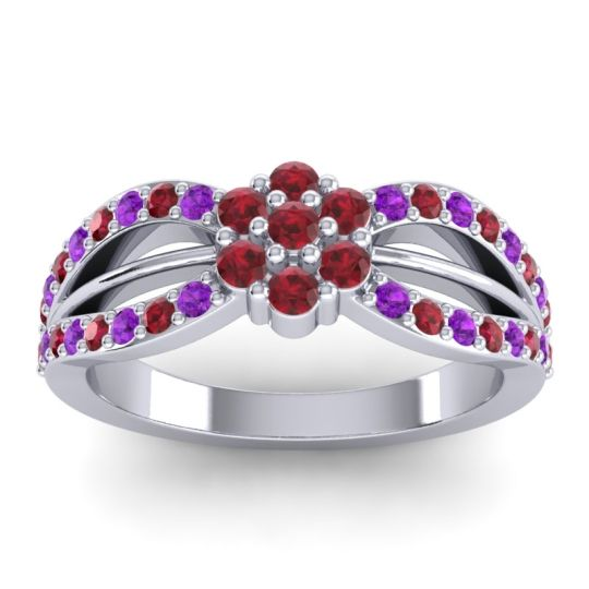 Simple Floral Pave Kalikda Ruby Ring with Amethyst in 18k White Gold