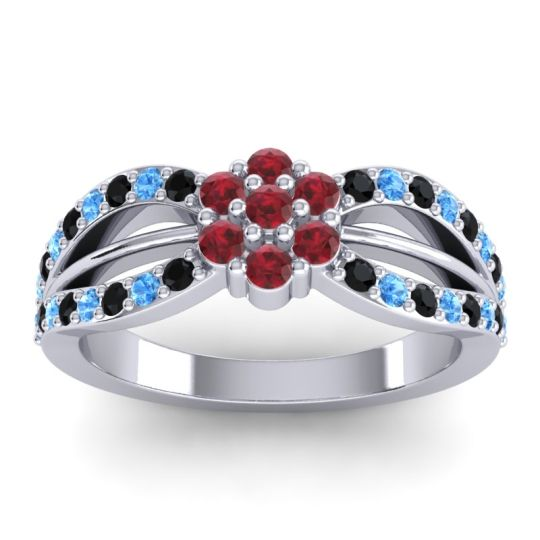 Simple Floral Pave Kalikda Ruby Ring with Swiss Blue Topaz and Black Onyx in 14k White Gold