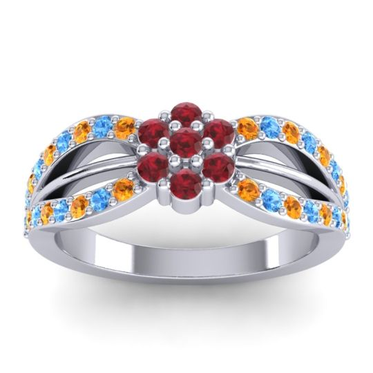 Simple Floral Pave Kalikda Ruby Ring with Swiss Blue Topaz and Citrine in Platinum