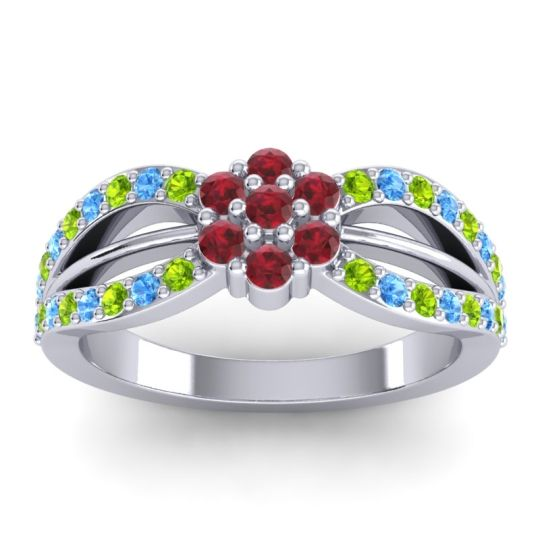 Simple Floral Pave Kalikda Ruby Ring with Swiss Blue Topaz and Peridot in Platinum