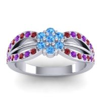 Simple Floral Pave Kalikda Swiss Blue Topaz Ring with Amethyst and Ruby in 18k White Gold