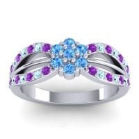 Simple Floral Pave Kalikda Swiss Blue Topaz Ring with Aquamarine and Amethyst in Palladium