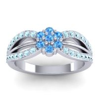 Simple Floral Pave Kalikda Swiss Blue Topaz Ring with Aquamarine in 14k White Gold