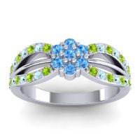 Simple Floral Pave Kalikda Swiss Blue Topaz Ring with Aquamarine and Peridot in Palladium
