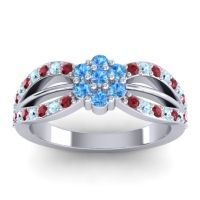 Simple Floral Pave Kalikda Swiss Blue Topaz Ring with Aquamarine and Ruby in 14k White Gold