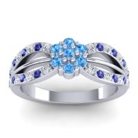 Simple Floral Pave Kalikda Swiss Blue Topaz Ring with Blue Sapphire and Diamond in Platinum