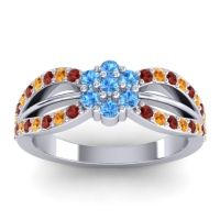 Simple Floral Pave Kalikda Swiss Blue Topaz Ring with Citrine and Garnet in 18k White Gold