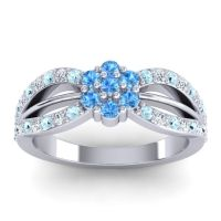 Simple Floral Pave Kalikda Swiss Blue Topaz Ring with Diamond and Aquamarine in Platinum