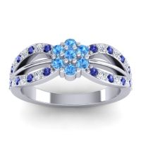 Simple Floral Pave Kalikda Swiss Blue Topaz Ring with Diamond and Blue Sapphire in 18k White Gold