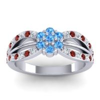 Simple Floral Pave Kalikda Swiss Blue Topaz Ring with Garnet and Diamond in Platinum