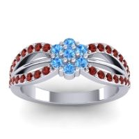 Simple Floral Pave Kalikda Swiss Blue Topaz Ring with Garnet in Palladium