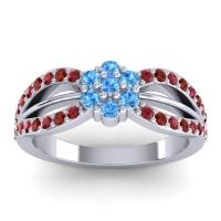 Simple Floral Pave Kalikda Swiss Blue Topaz Ring with Garnet and Ruby in Platinum