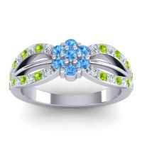 Simple Floral Pave Kalikda Swiss Blue Topaz Ring with Peridot and Diamond in Palladium