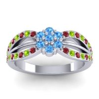 Simple Floral Pave Kalikda Swiss Blue Topaz Ring with Peridot and Ruby in Palladium
