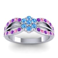 Simple Floral Pave Kalikda Swiss Blue Topaz Ring with Pink Tourmaline and Amethyst in 14k White Gold