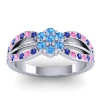 Simple Floral Pave Kalikda Swiss Blue Topaz Ring with Pink Tourmaline and Blue Sapphire in 14k White Gold