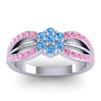 Simple Floral Pave Kalikda Swiss Blue Topaz Ring with Pink Tourmaline in Palladium