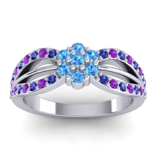 Simple Floral Pave Kalikda Swiss Blue Topaz Ring with Amethyst and Blue Sapphire in 18k White Gold
