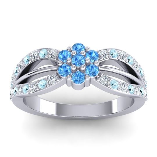 Simple Floral Pave Kalikda Swiss Blue Topaz Ring with Aquamarine and Diamond in 18k White Gold