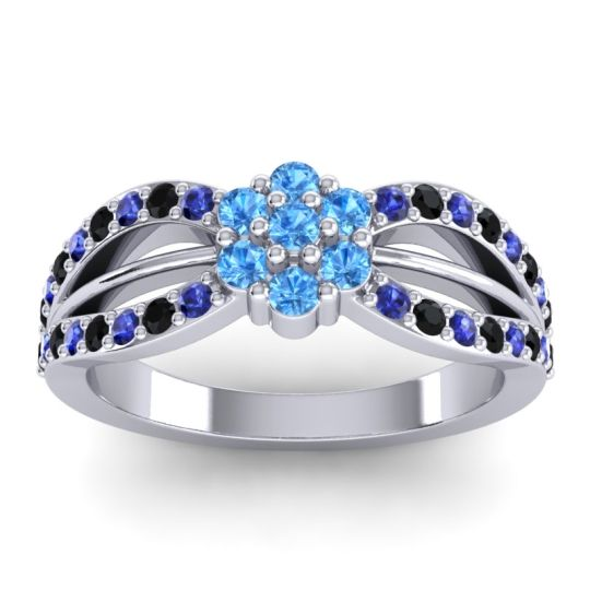 Simple Floral Pave Kalikda Swiss Blue Topaz Ring with Black Onyx and Blue Sapphire in Palladium