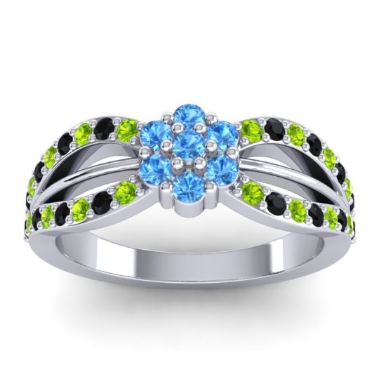 Simple Floral Pave Kalikda Swiss Blue Topaz Ring with Black Onyx and Peridot in Platinum
