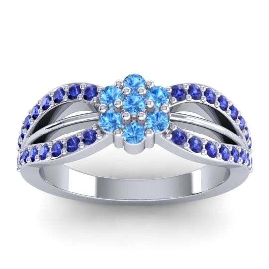 Simple Floral Pave Kalikda Swiss Blue Topaz Ring with Blue Sapphire in 14k White Gold