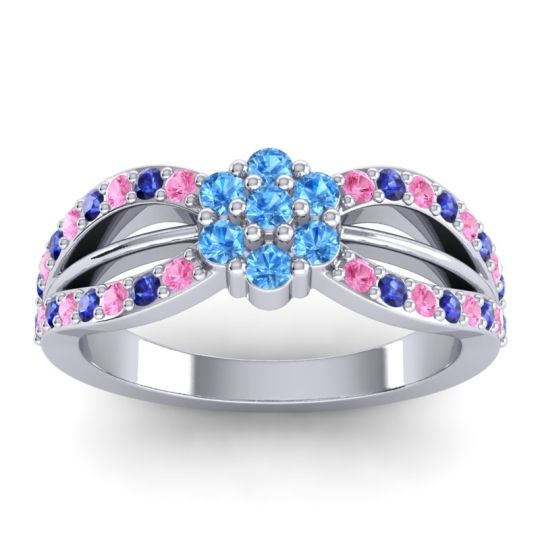 Simple Floral Pave Kalikda Swiss Blue Topaz Ring with Blue Sapphire and Pink Tourmaline in 18k White Gold